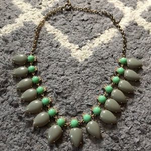 JCREW statement necklace grey/ green